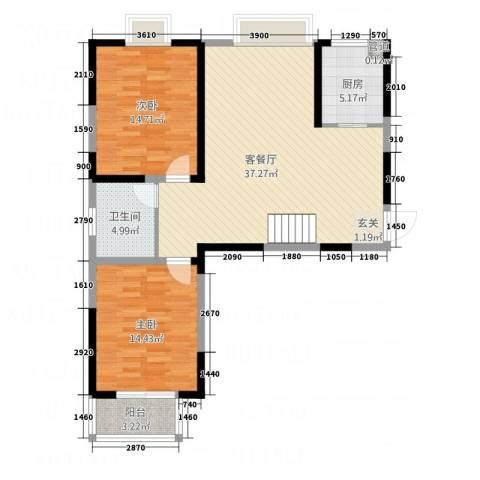 翡翠湾花园2室1厅1卫1厨79.92㎡户型图