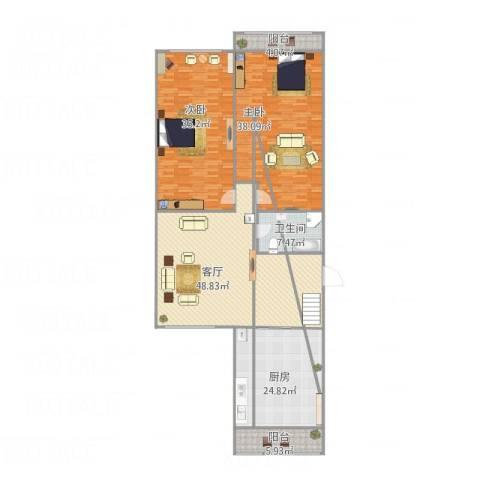 金银里2室1厅1卫1厨216.00㎡户型图