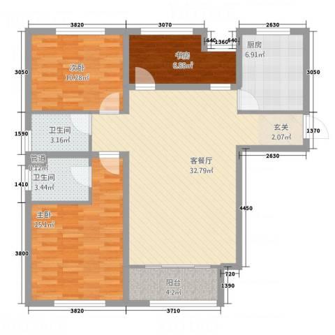 乐活城市3室1厅2卫1厨118.00㎡户型图