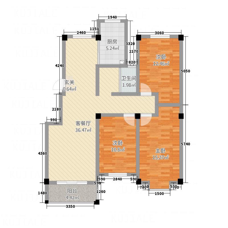 珠江豪庭125.00㎡2户型3室2厅1卫1厨