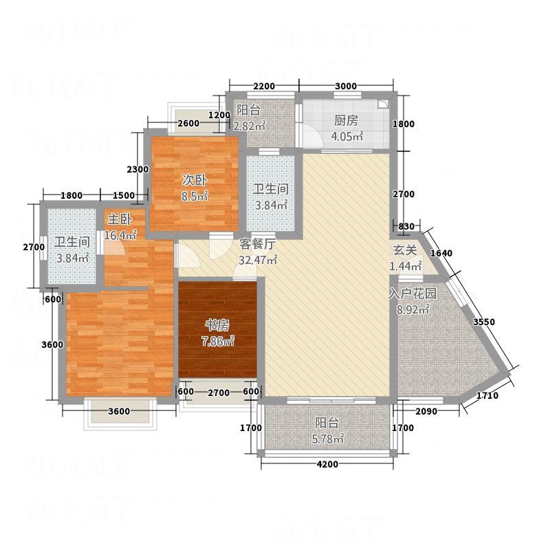 中国铁建・东来尚城127.22㎡9c-a户型3室2厅2卫