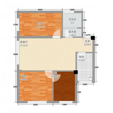 升华苑3室2厅1卫1厨85.00㎡户型图