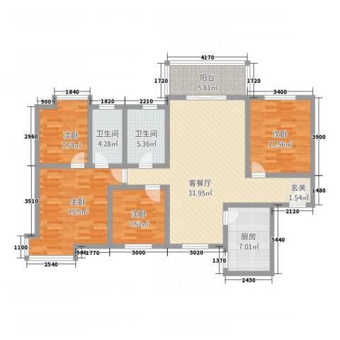 丽锦・城西人家4室1厅2卫1厨96.54㎡户型图