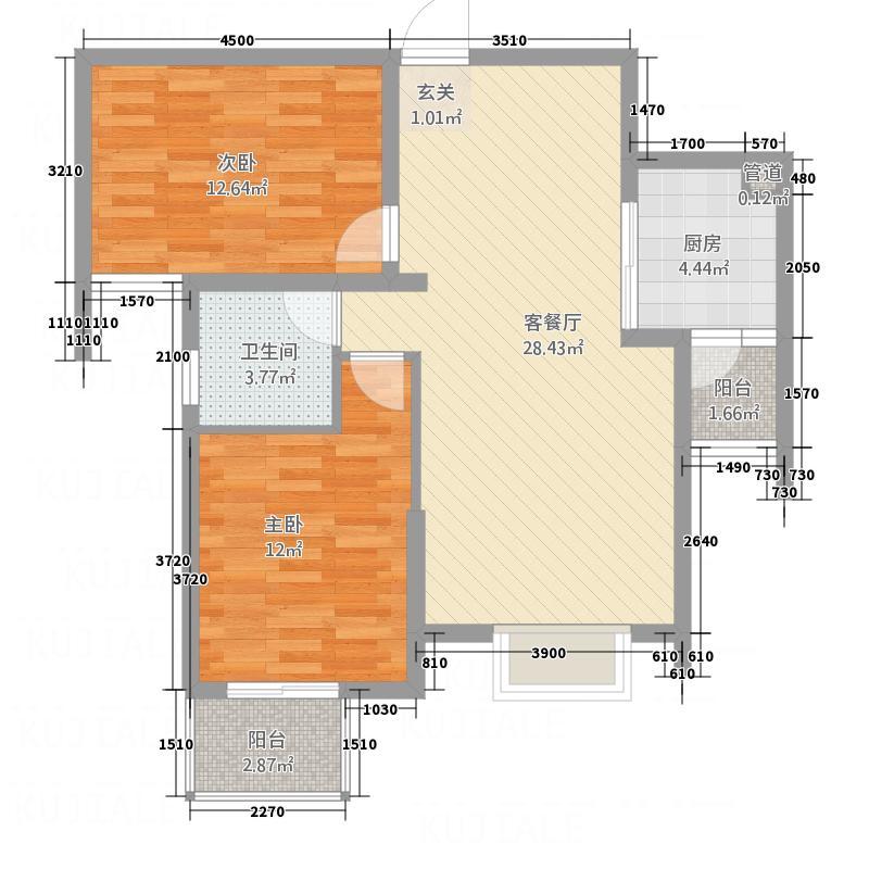 F空港中心城8.14㎡h11户型2室2厅1卫1厨