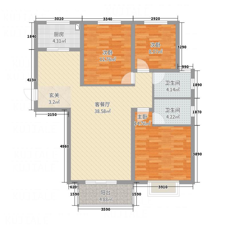 棕榈泉二期・铂宫13.36㎡W户型3室2厅2卫