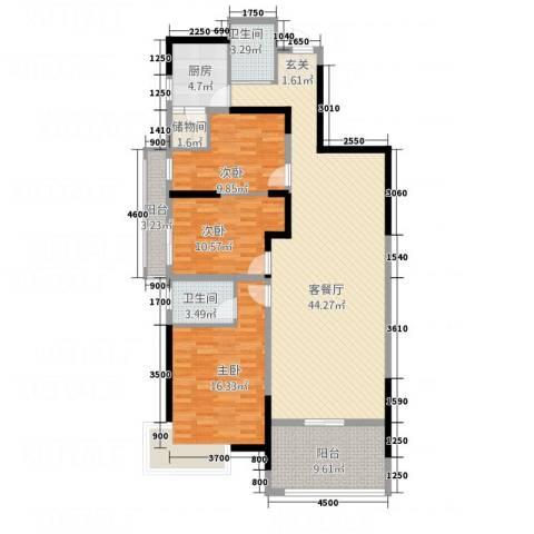 锦林俊域3室1厅2卫1厨106.93㎡户型图