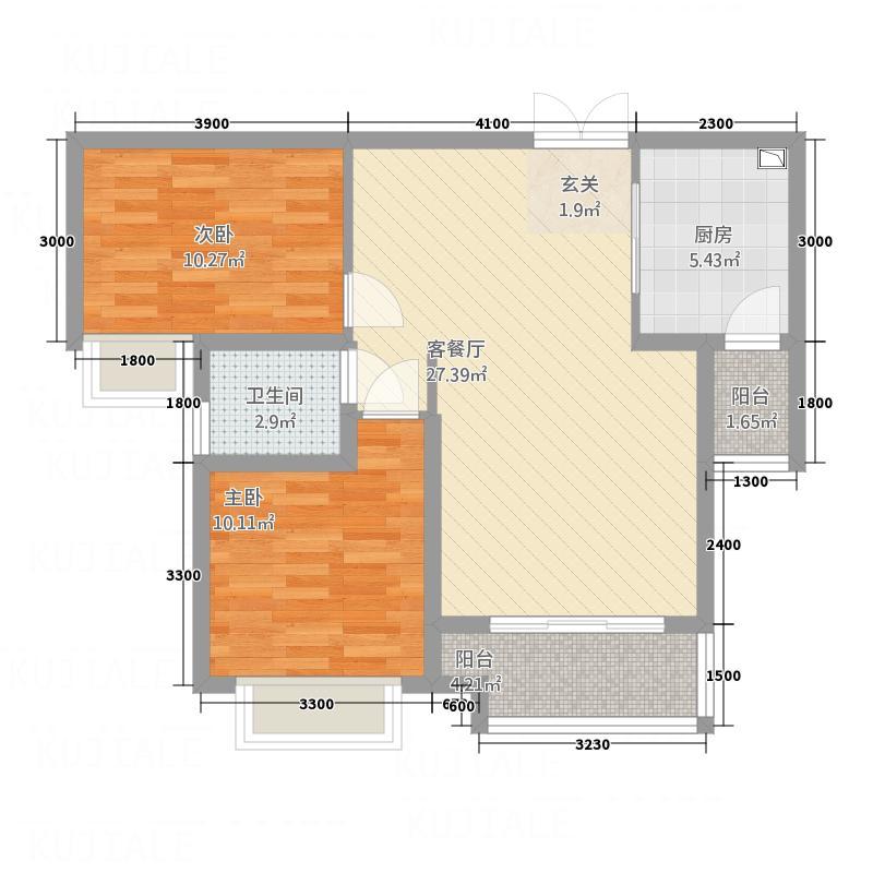 中国铁建・东来尚城85.77㎡9b-b-户型2室2厅1卫