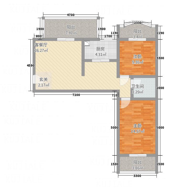 香吾山庄4号楼F户型2室2厅1卫