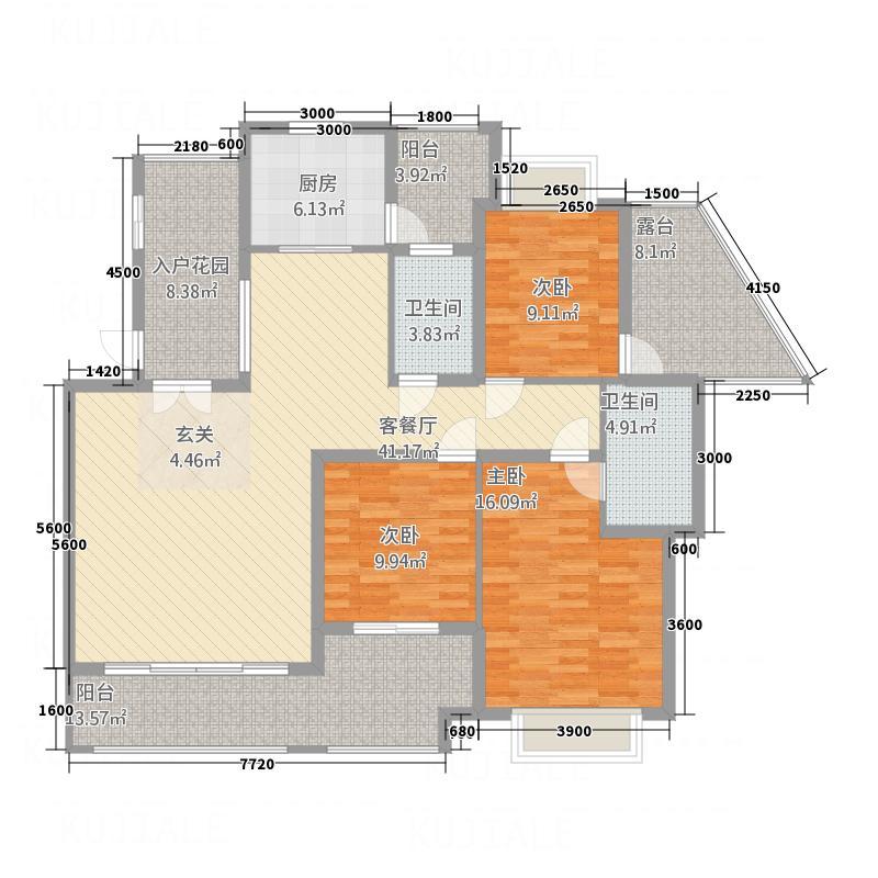 中国铁建・东来尚城144.77㎡3B-B户型3室2厅2卫1厨