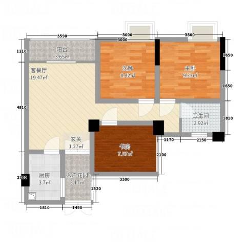 天悦府3室1厅1卫1厨87.00㎡户型图