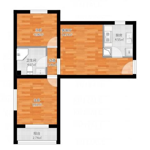 龙康新苑0012室1厅1卫1厨65.00㎡户型图