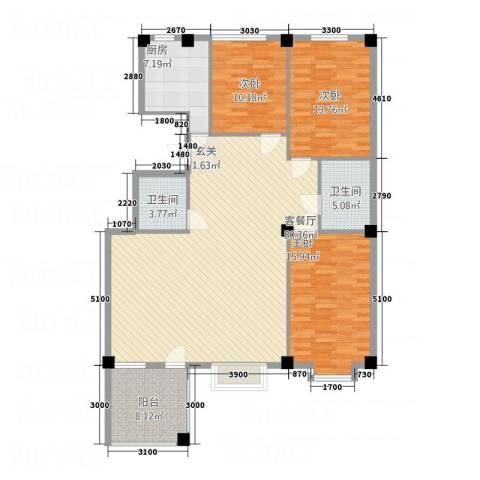 金瑞尚品3室1厅2卫1厨135.00㎡户型图