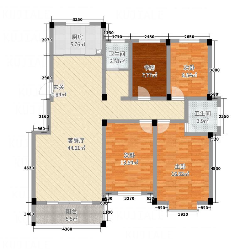 珠江豪庭156.14㎡3户型4室2厅2卫1厨