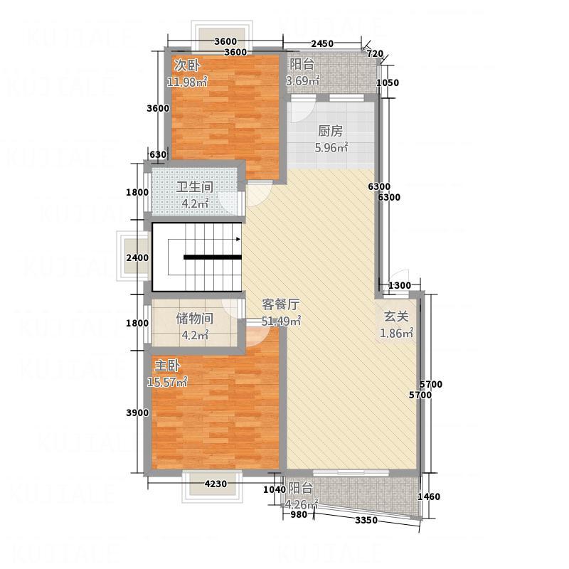 佳和教育新苑8号楼复式一层户型2室2厅1卫1厨
