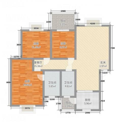 龙门古镇3室1厅2卫1厨121.00㎡户型图