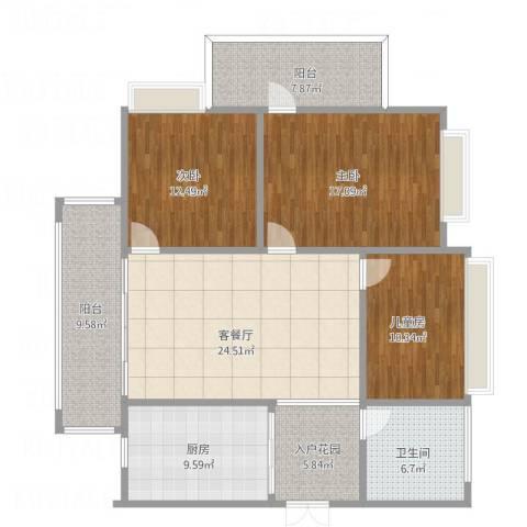 顺宝・天誉花园3室1厅1卫1厨144.00㎡户型图