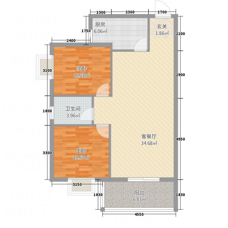 丰达国际商城1.48㎡A2户型2室2厅1卫1厨
