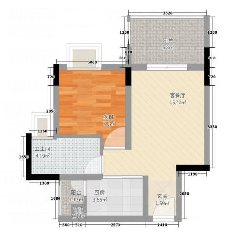 星座尚筑1室1厅1卫1厨43.00㎡户型图