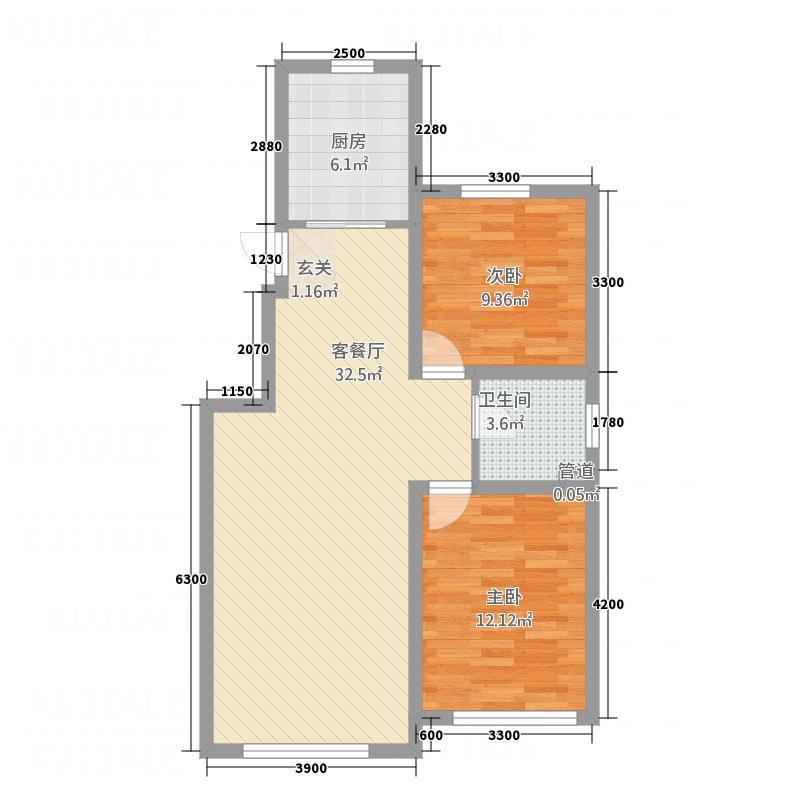 顺吉-上河湾单B新-小高C1户型2室2厅1卫1厨