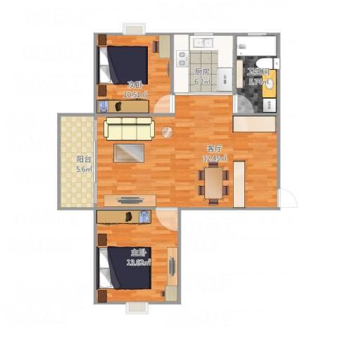 瑞金尊邸2室1厅1卫1厨99.00㎡户型图