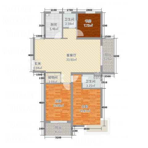 海润广场3室1厅2卫1厨129.00㎡户型图