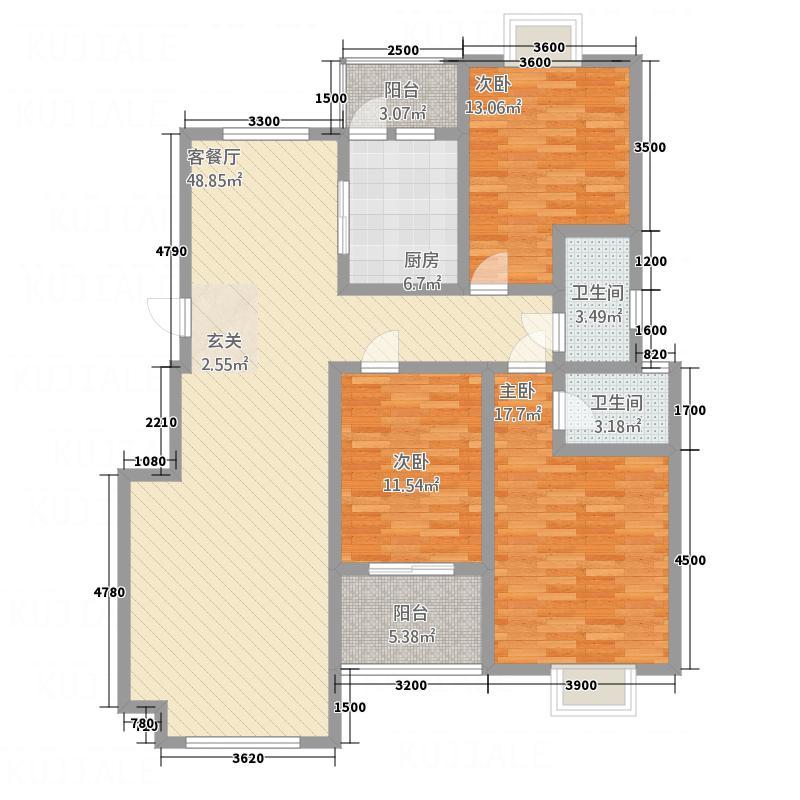顺达碧海名居143.86㎡调整大小户型3室2厅2卫1厨