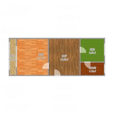 咸阳北里1室1厅1卫1厨72.00㎡户型图