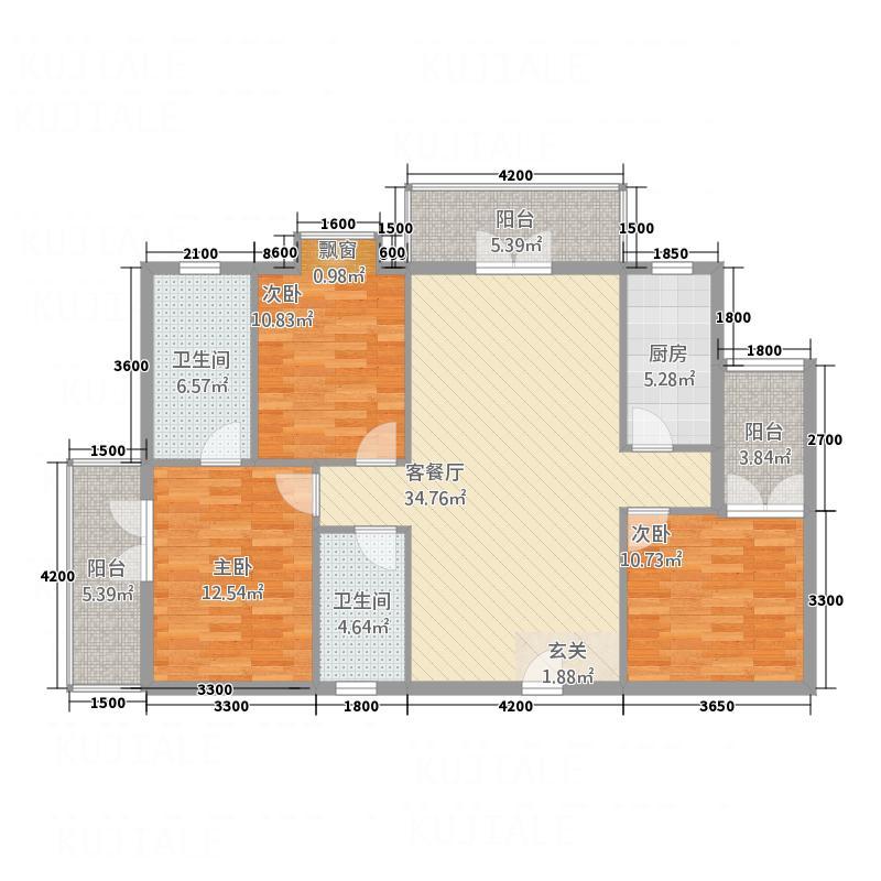 盛丰广场127.40㎡A1a户型3室2厅2卫1厨