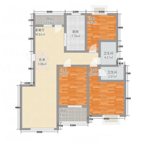顺达碧海名居3室1厅2卫1厨117.87㎡户型图