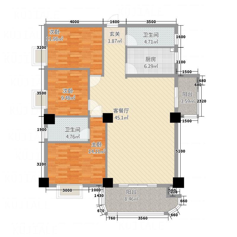 泉舜滨海上城151.47㎡6号楼B户型3室2厅2卫1厨