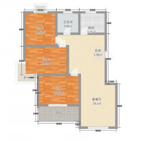 顺达碧海名居3室1厅1卫1厨108.56㎡户型图