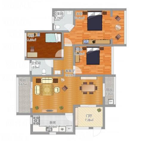 半岛花园3室1厅2卫1厨172.00㎡户型图