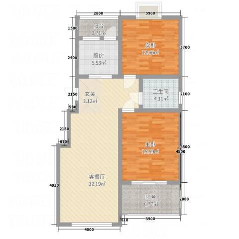 顺达碧海名居2室1厅1卫1厨91.14㎡户型图