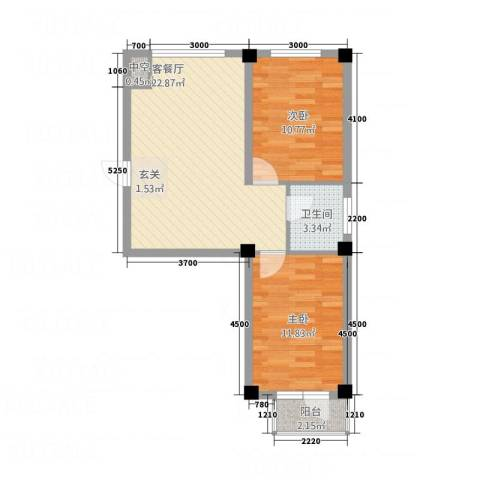 北海名城2室1厅1卫0厨73.00㎡户型图