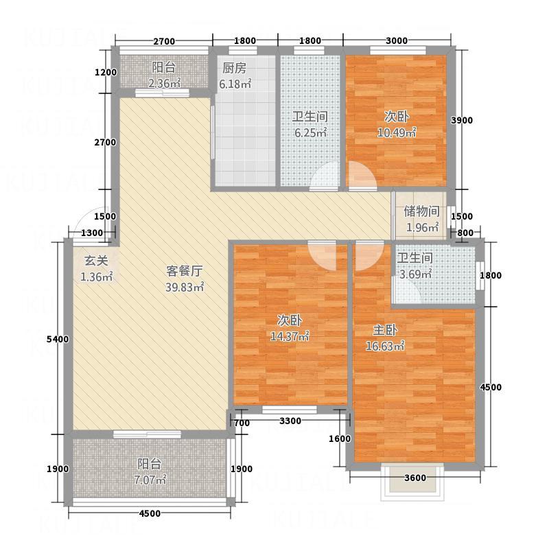 丰达国际商城125.75㎡B3户型3室2厅2卫1厨