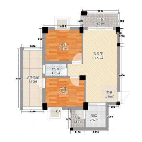 侨兴・宝翠园2室1厅1卫1厨73.00㎡户型图