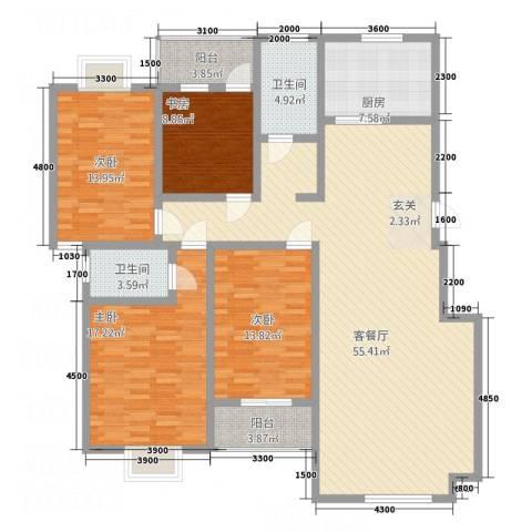 顺达碧海名居4室1厅2卫1厨151.63㎡户型图
