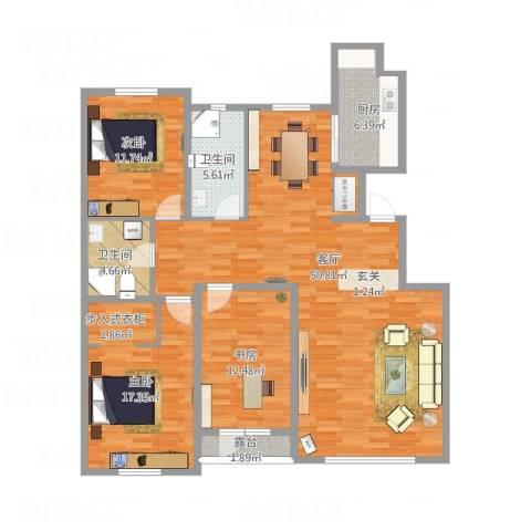 宜君佳和3室1厅2卫1厨156.00㎡户型图