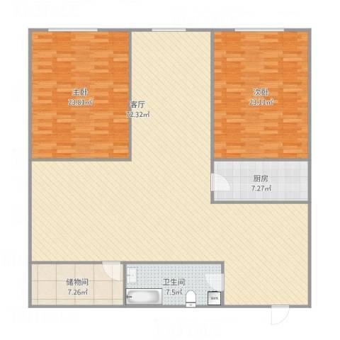 诚基中心国际公寓2室1厅1卫1厨186.00㎡户型图