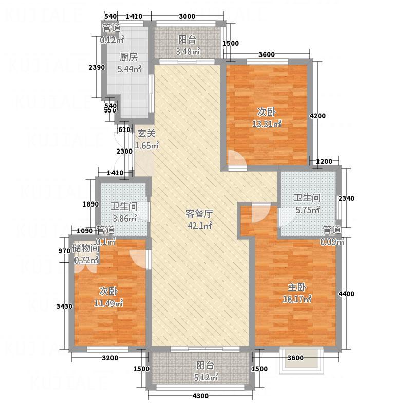 中湖珐琅印432.30㎡J户型3室2厅2卫