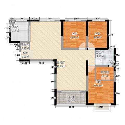 凯润花园3室1厅1卫1厨133.00㎡户型图