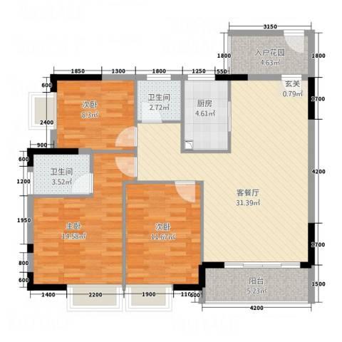 凤凰新城3室1厅2卫1厨86.65㎡户型图