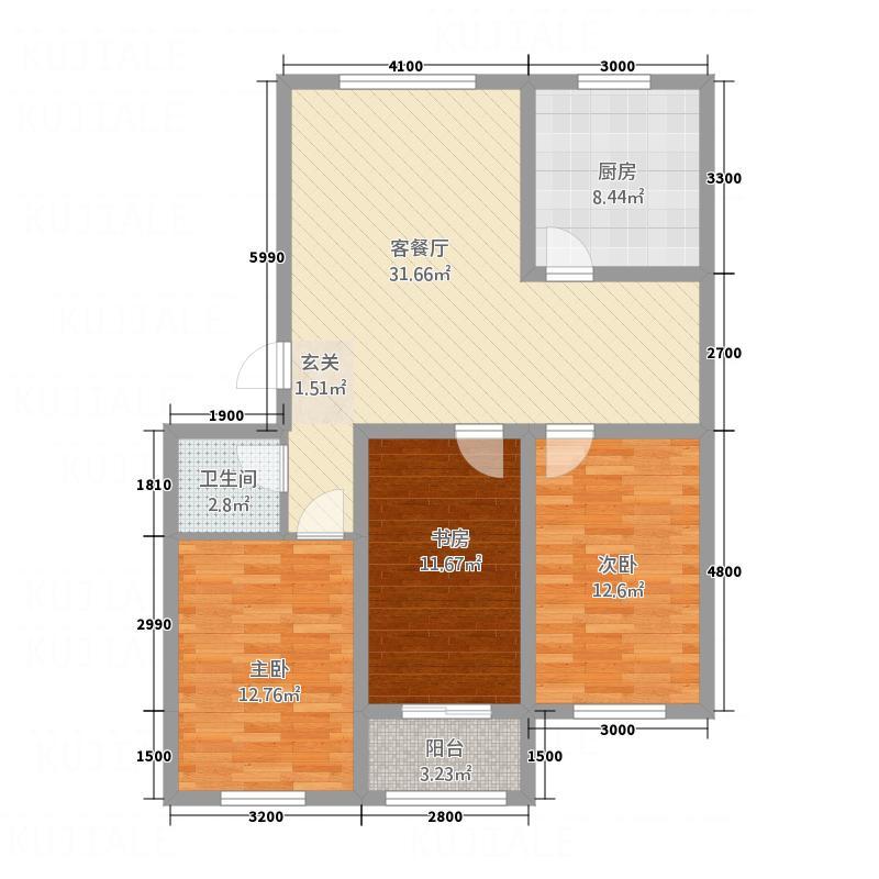 龙屿・香醍溪苑115.00㎡B户型3室2厅1卫1厨