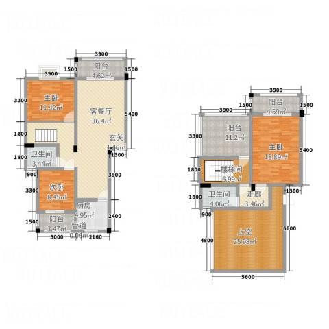 华兴名城3室1厅2卫1厨147.97㎡户型图