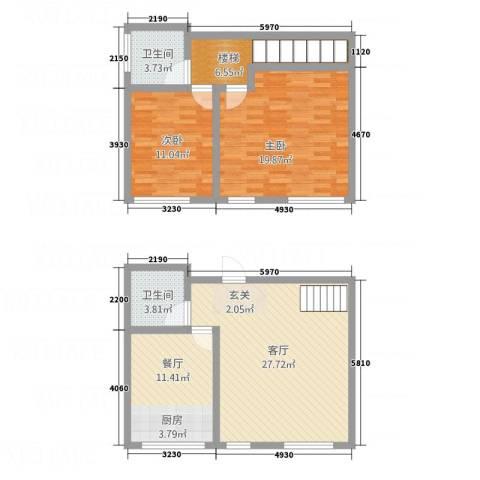 金湖水岸2室2厅2卫0厨120.00㎡户型图