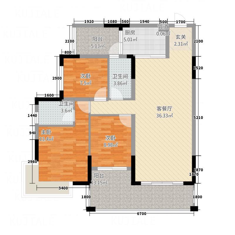 翁江新城117.41㎡3+户型4室2厅2卫1厨