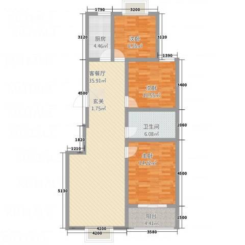 香港花园3室1厅1卫1厨114.00㎡户型图