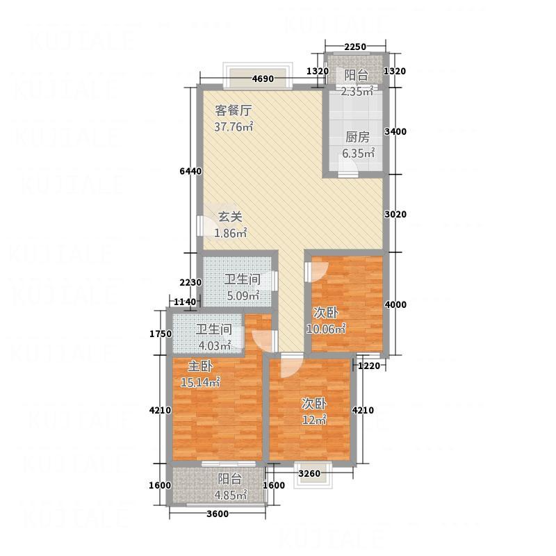 香港花园124.37㎡A3#楼1~11层户型3室2厅1卫1厨