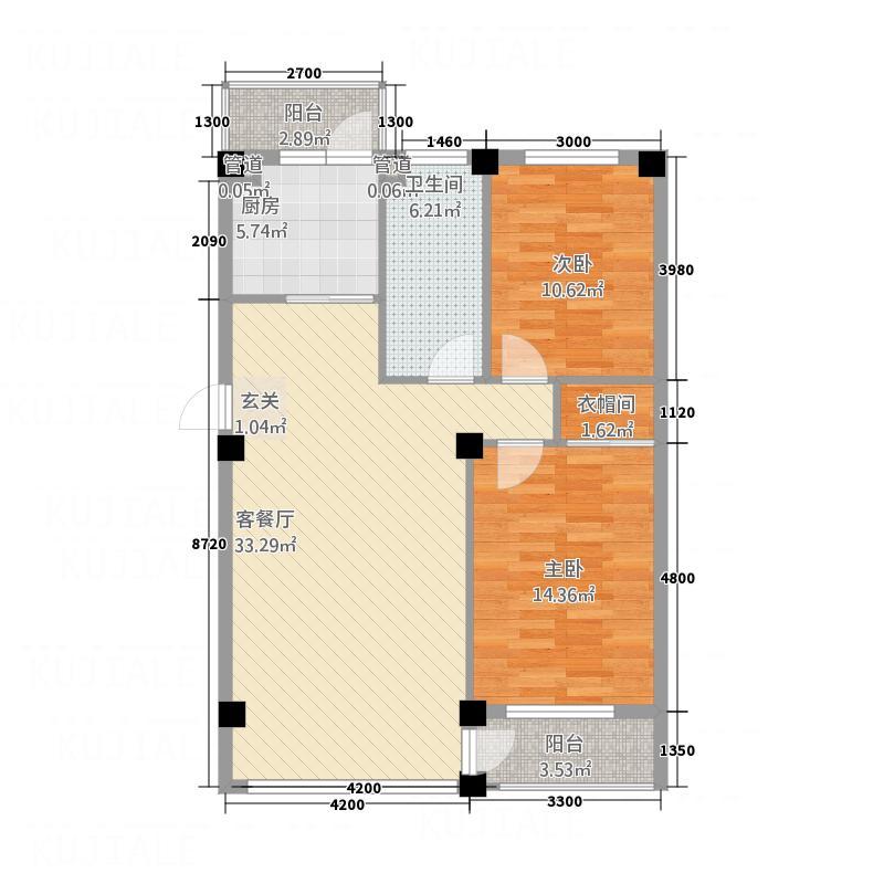 龙脉海景花园2.00㎡4号楼标准层户型2室1厅