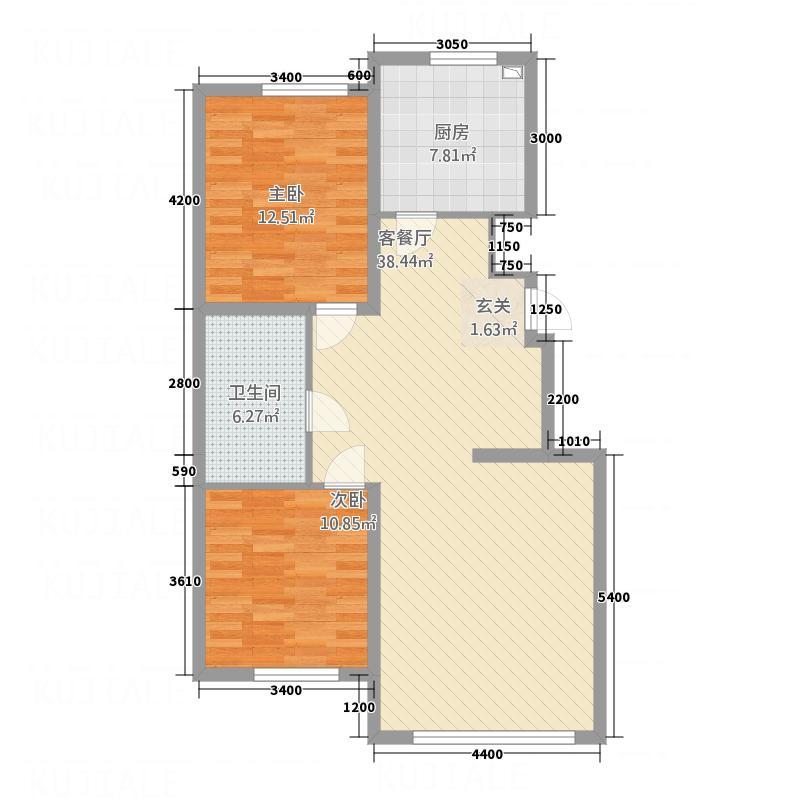 南湖嘉苑12.40㎡10294户型2室2厅1卫1厨